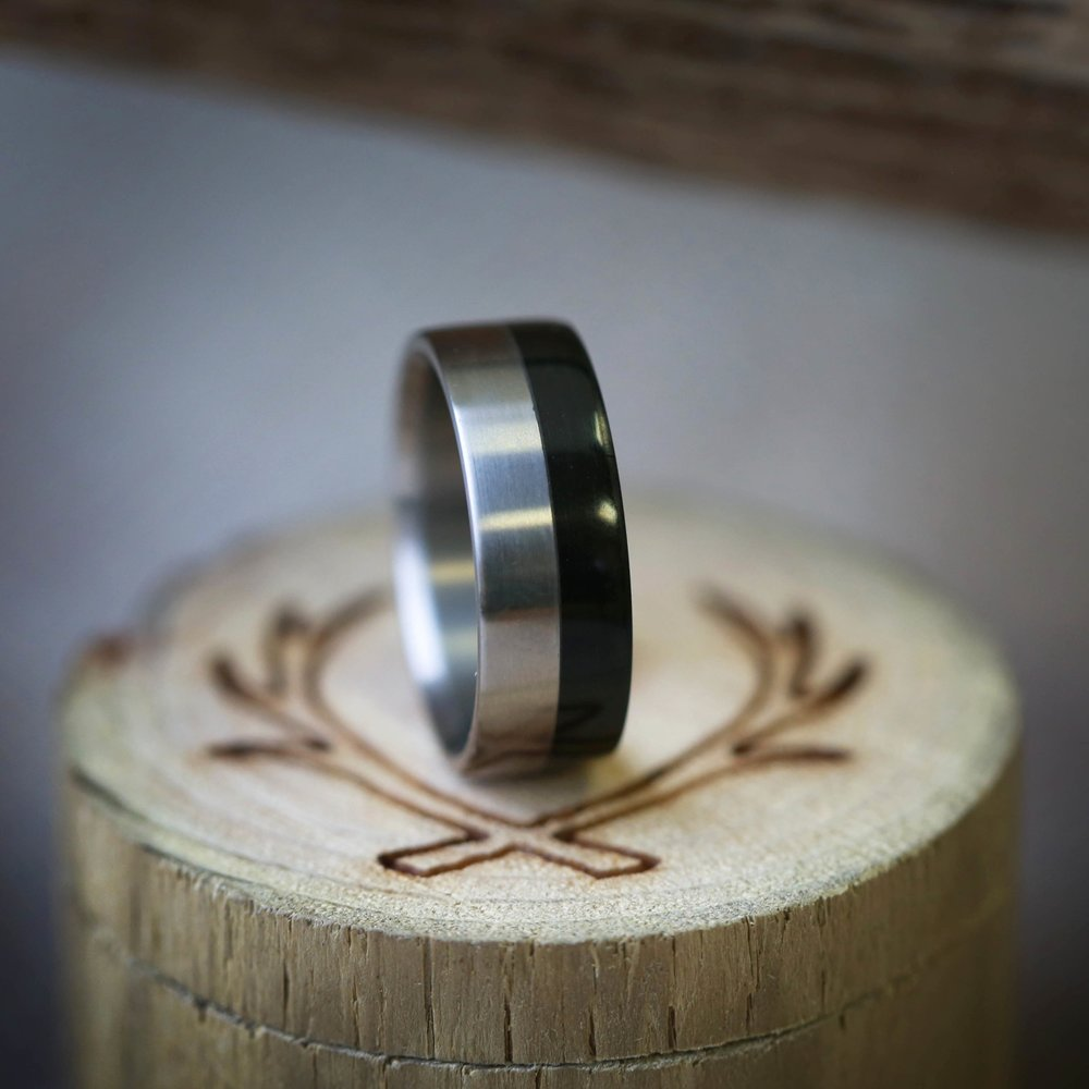 Quot Tanner Quot Wedding Ring In Ebony Wood Available In Titanium Silver Black Zirconium Damascus