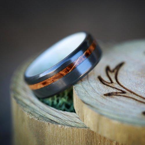 whiskey barrel and antler wedding band on black zirconium handcrafted by staghead designs - Deer Antler Wedding Rings