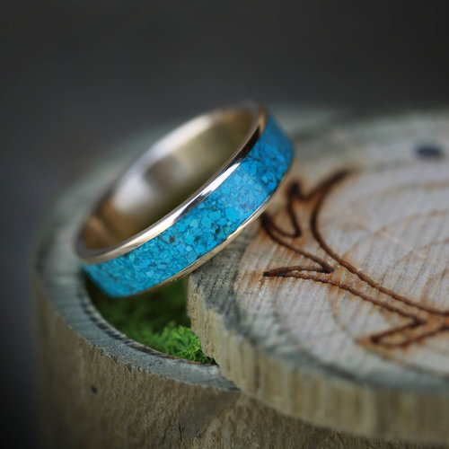 10k yellow gold turquoise wedding band available in yellow rose or white gold - Turquoise Wedding Ring