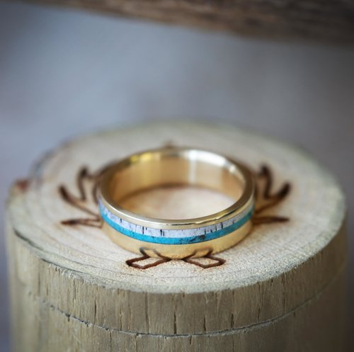 14k Gold Band With Turquoise And Antler Inlays Available In 14k