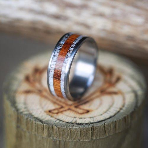 mens wood and antler wedding band by staghead designs - Deer Antler Wedding Rings
