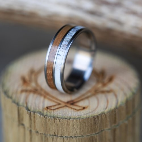Whiskey Barrel Oak And Antler Wedding Band Available In Titanium