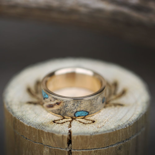 mens turquoise wedding band with wood and yellow gold handcrafted by staghead designs - Turquoise Wedding Ring