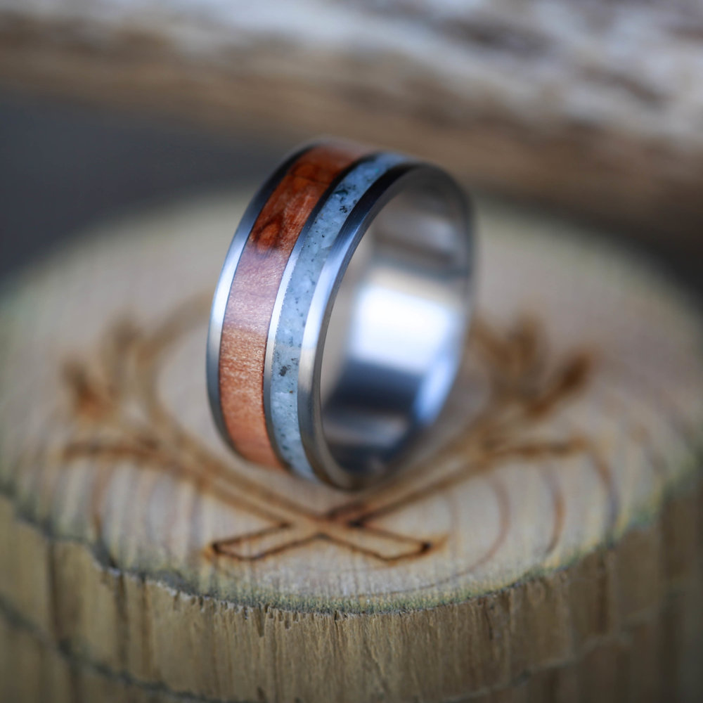 REDWOOD GRANITE WEDDING RING available in titanium silver black