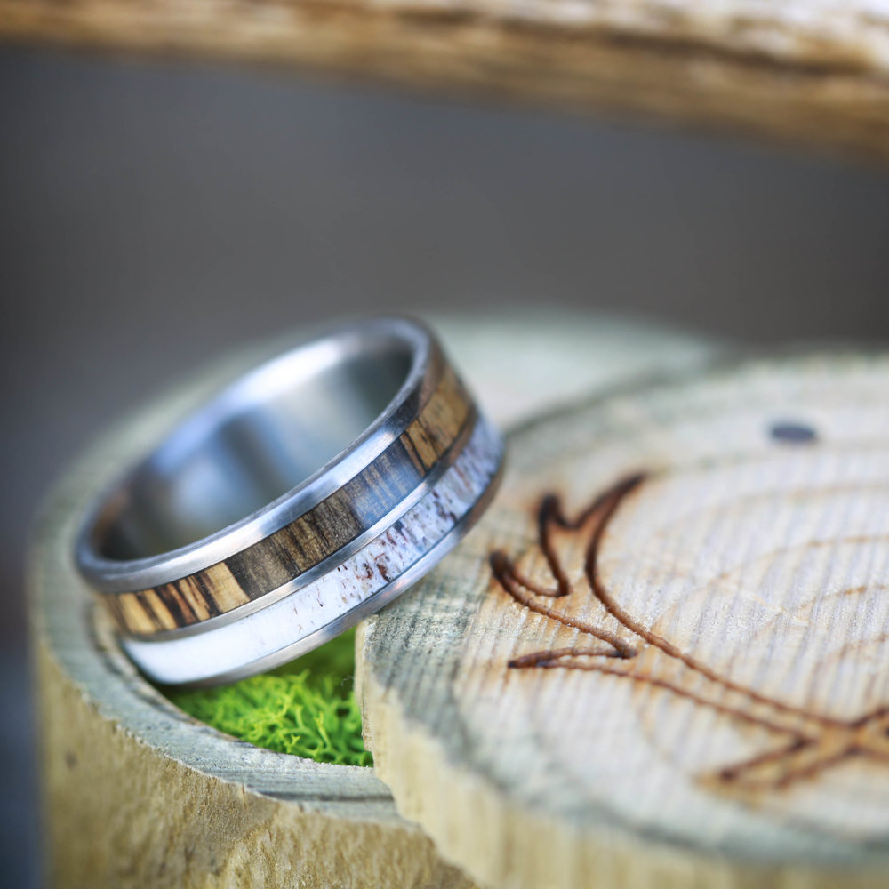 SPALTED MAPLE AND ANTLER WEDDING BAND SET ON TITANIUM (available In  Titanium, Silver, Black Zirconium U0026 14K White, Rose Or Yellow Gold)