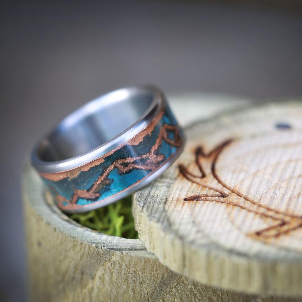 Patina Copper Wedding Ring W Custom Mountain Engraving