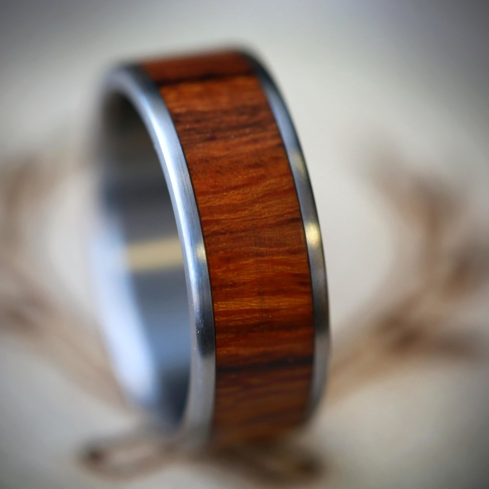 mens wood wedding band available in titanium silver or gold staghead designs - Mens Wood Wedding Rings