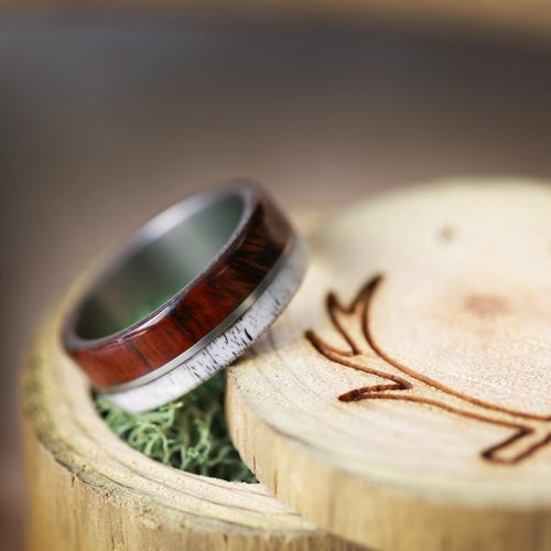 wood and antler wedding ring for men handcrafted by staghead designs - Wooden Wedding Rings For Men
