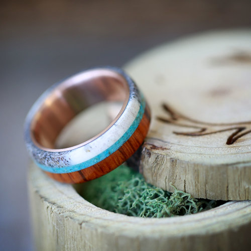 rose gold wedding ring for men handcrafted by staghead designs - Wooden Wedding Rings For Men