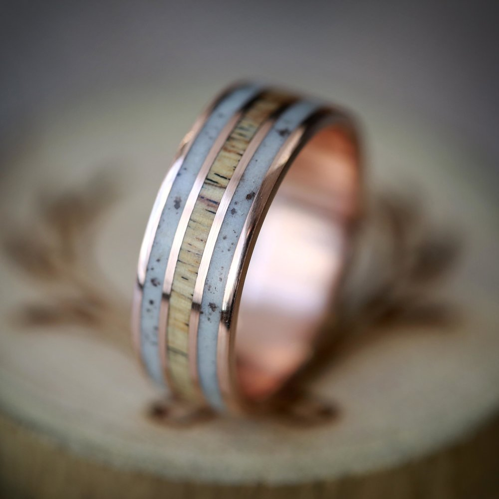 ELK ANTLER SPALTED MAPLE HAND SET ON 14K ROSE GOLD WEDDING BAND
