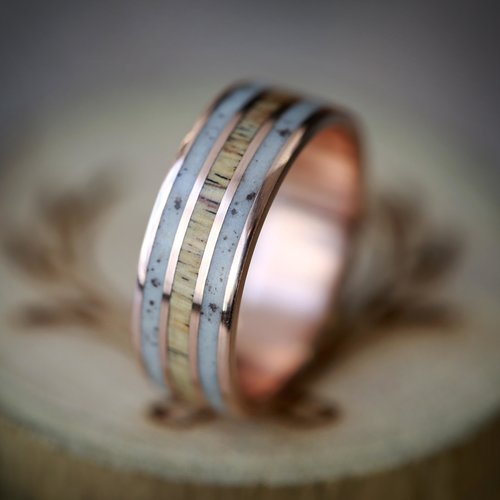 Rio In Elk Antler Spalted Maple Hand Set On 14k Gold Wedding Band