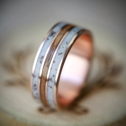 whiskey barrel oak and antler wedding ring handcrafted by staghead designs - Wedding Ring Photos