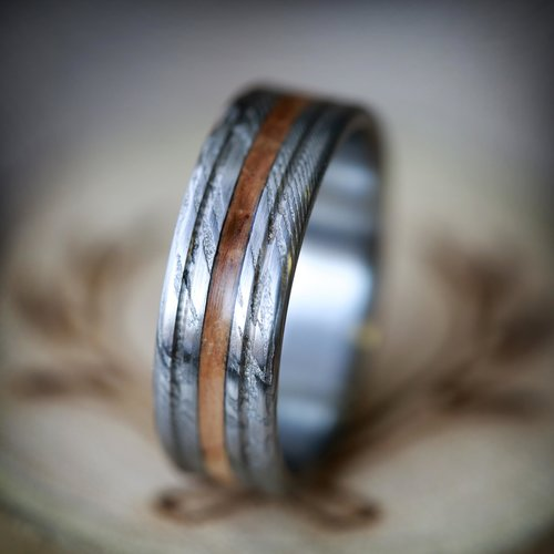wedding steel men edge damascus unique s wide rings beveled mens band