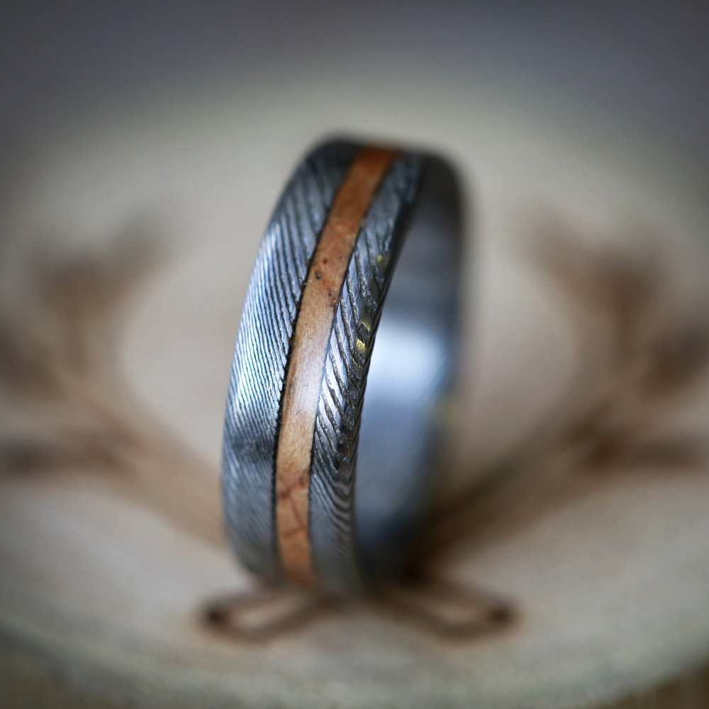 MATCHING SET OF ETCHED DAMASCUS STEEL WEDDING BANDS WITH WHISKEY