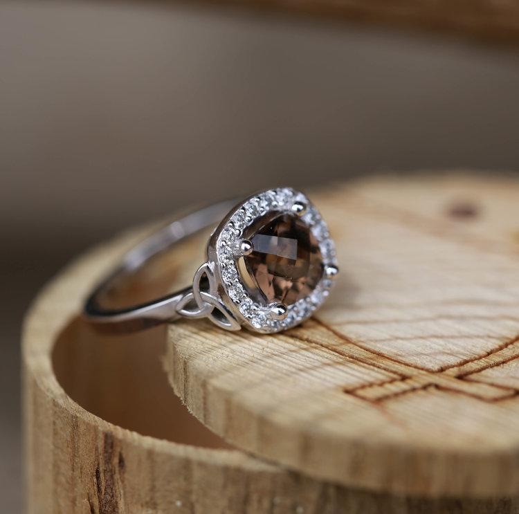 Celtic Knot U0026 Smokey Quartz Womenu0027s Engagement Ring.