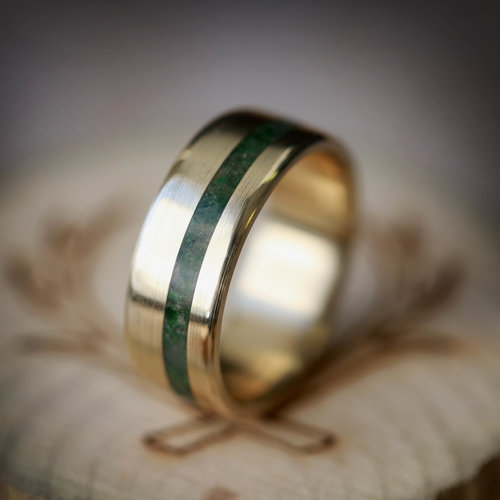 Stone Inlay Rings Staghead Designs Design Custom Wedding Bands
