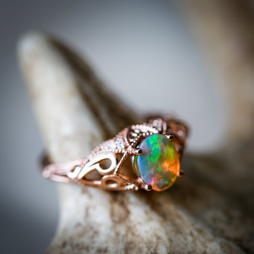Vintage style 14k rose gold engagement with welo opal and diamond unique opal engagement ring welo opal wedding ring handcrafted by staghead designs junglespirit Images