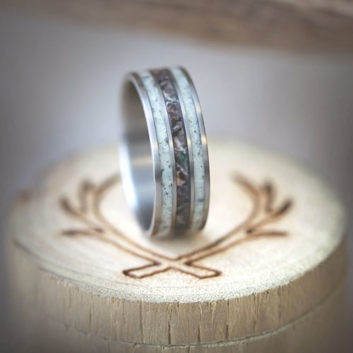 MEN\'S CAMO WEDDING RING WITH REAL ELK ANTLER (available in titanium ...