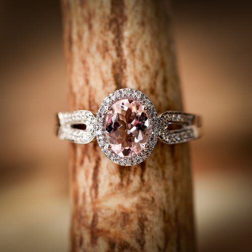 Morganite Oval With Halo On 14k Gold Engagement Ring Available In
