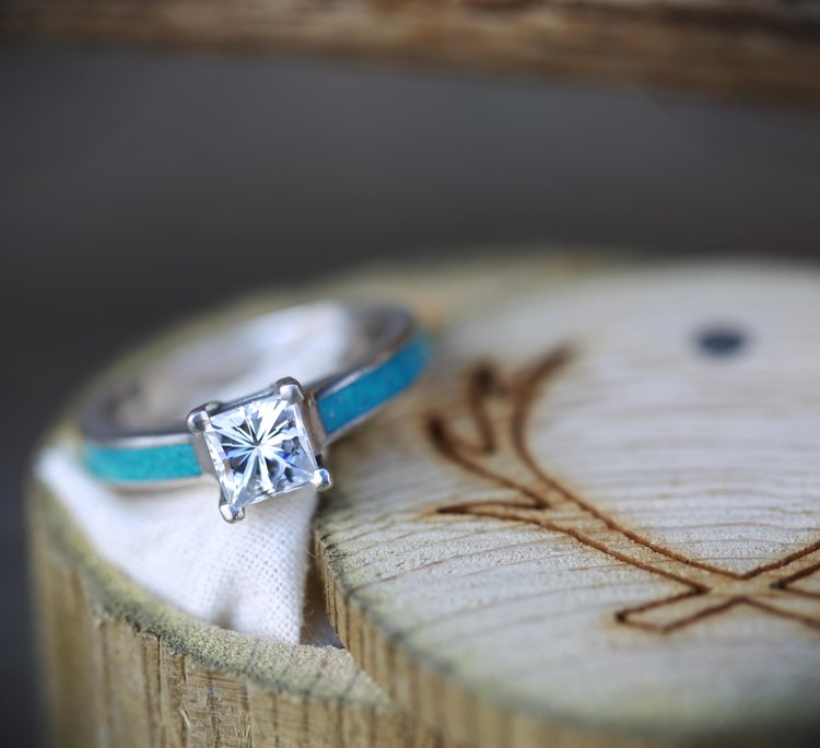 a319cc5a28f8e 14K ROSE GOLD ENGAGEMENT RING WITH 2ct MOISSANITE RING AND TURQUOISE INLAYS  — Staghead Designs | Design Custom Wedding Bands | Wood & Antler Wedding ...