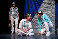 Edelman (left) as Benvolio, Klopatek as Romeo and Powell as Mercutio in USF's  touring production of   Romeo and Juliet.