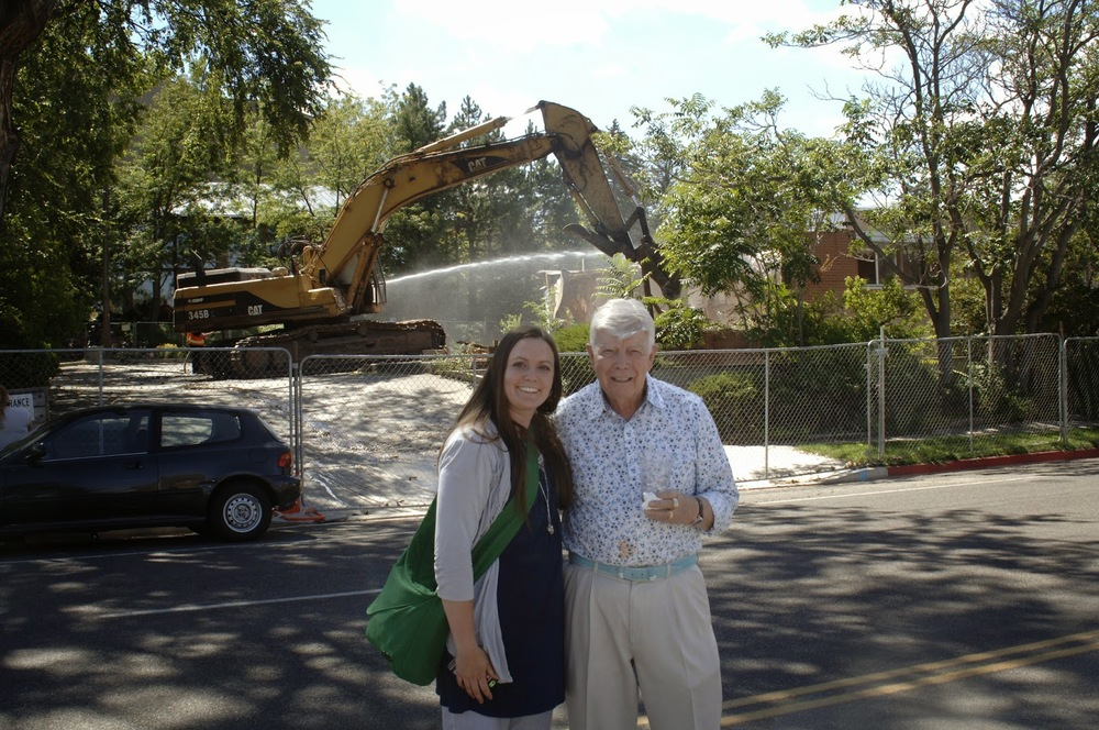 Fred Adams and Ashley Pollock in front of Administrative Building Demo