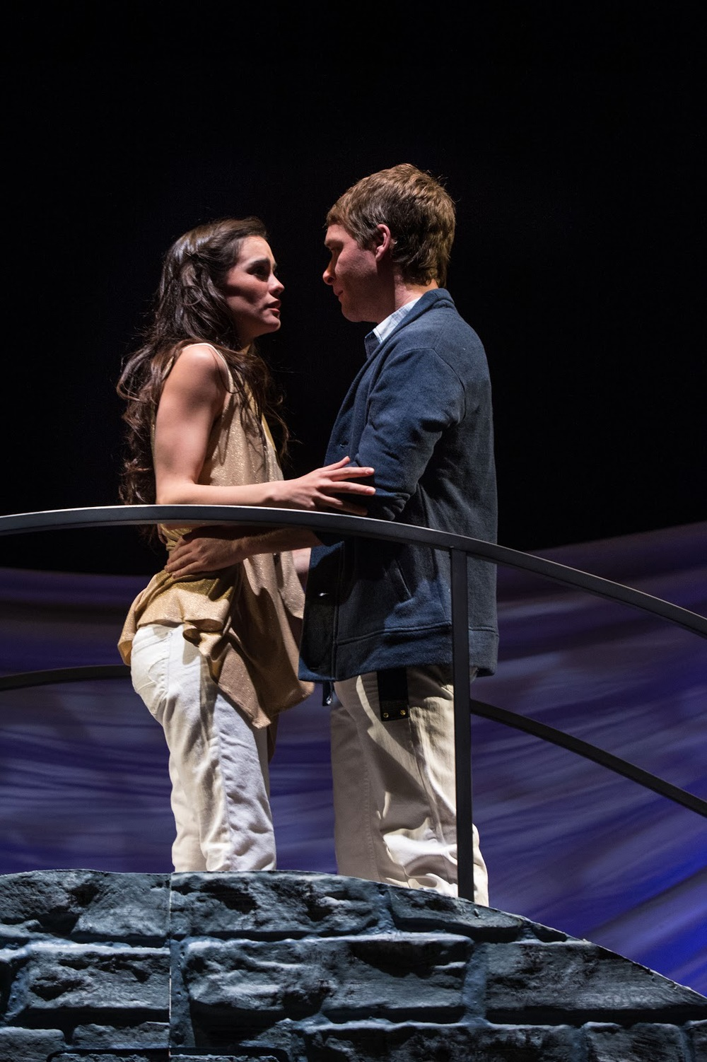 Melisa Pereyra (left) as Juliet and Chris Klopatek as Romeo in the Utah Shakespeare Festival's Romeo and Juliet.