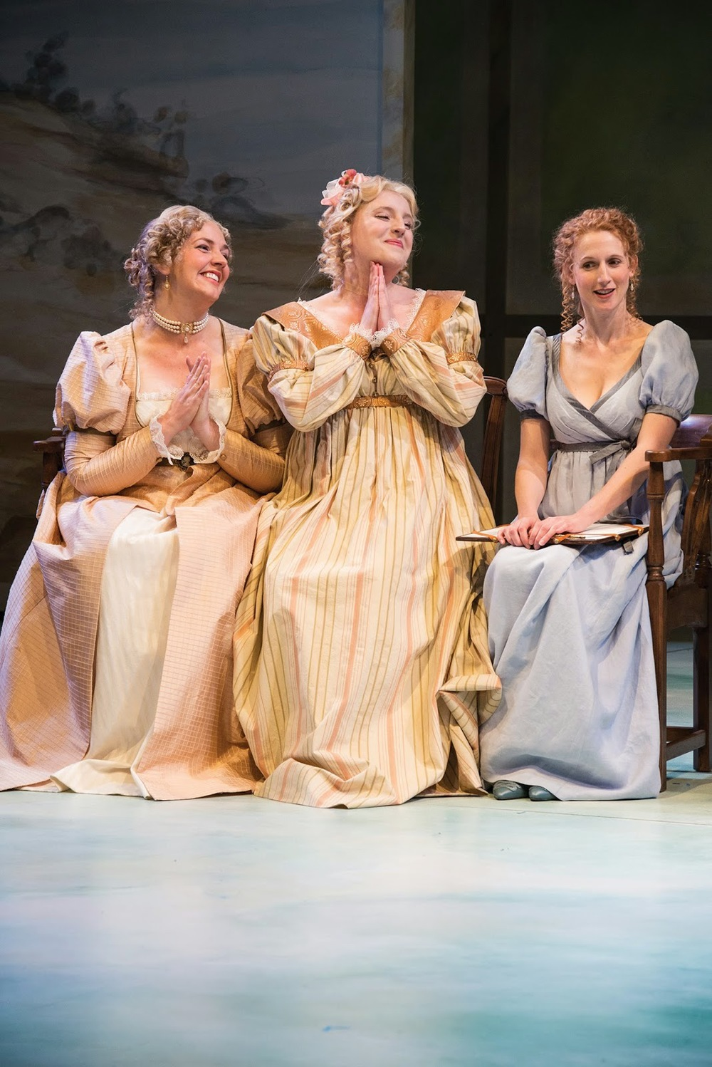 Sarah Greenman (Left), Bri Sudia, Cassandra Bissell in  Sense and Sensibility . Photo by Karl Hugh.