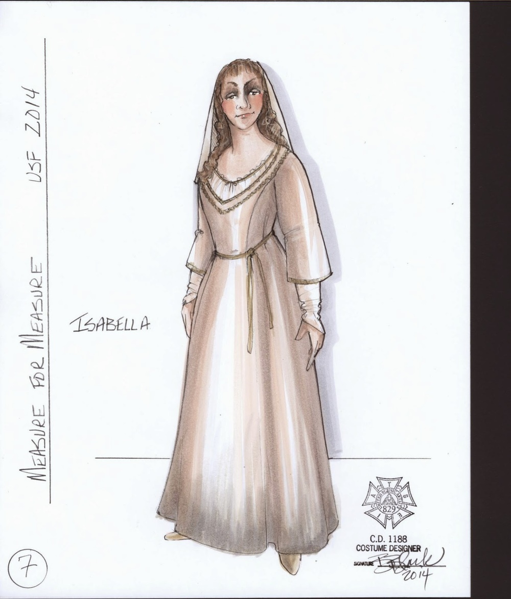 Costume sketch Isabella  Costume designs by Bill Black