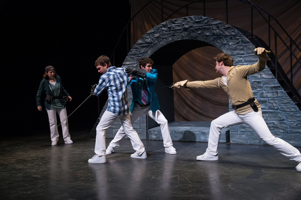 Elyse Edelman (left) as Benvolio, Chris Klopatek as Romeo, Zachary Powell as Mercutio, & Joshua James Innerst as Tybalt in the Utah Shakespeare Festival's Romeo and Juliet.