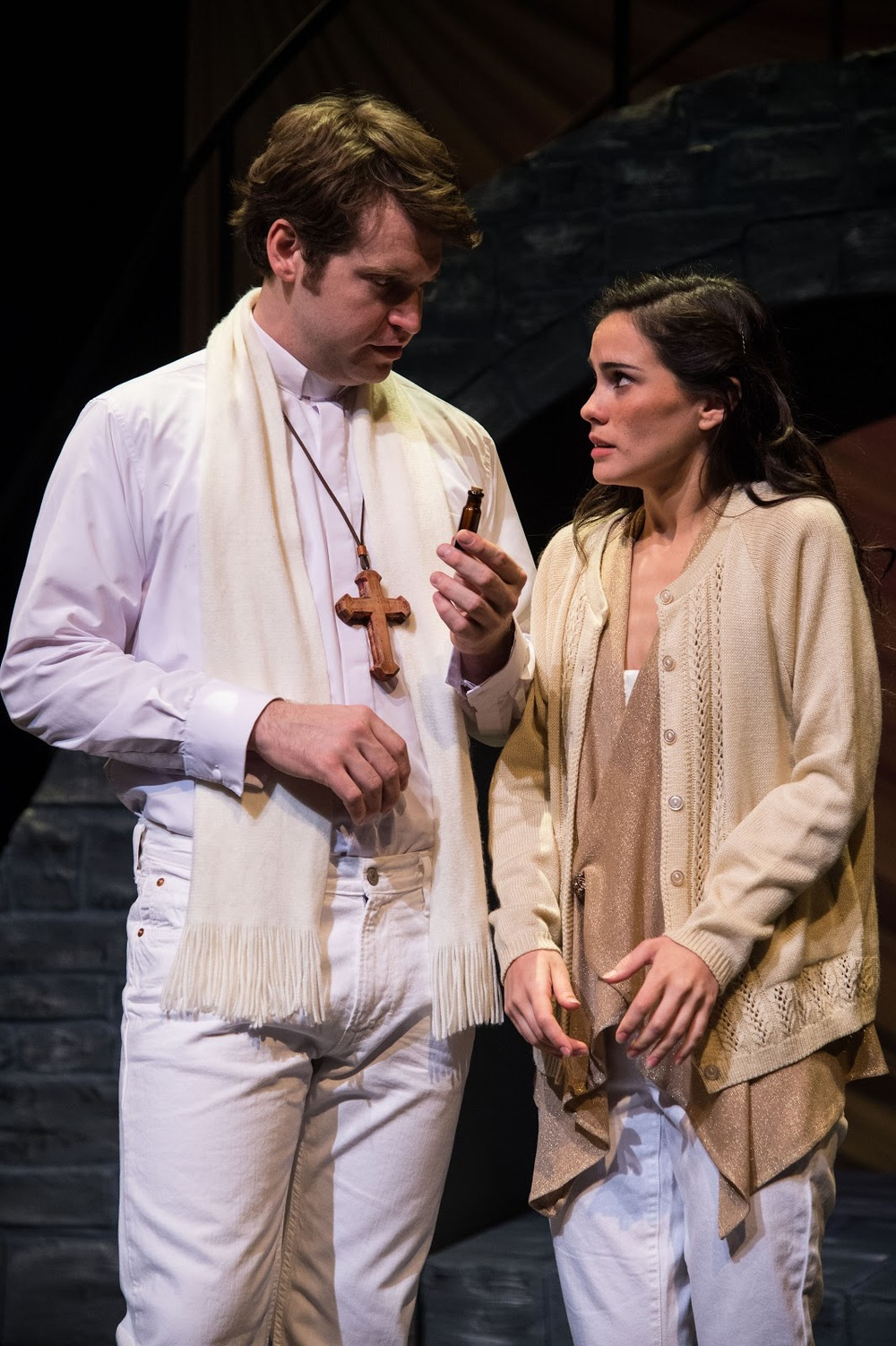 Joshua James Innerst (left) as Friar Lawrence and Melisa Pereyra as Juliet in the Utah Shakespeare Festival's Romeo and Juliet.