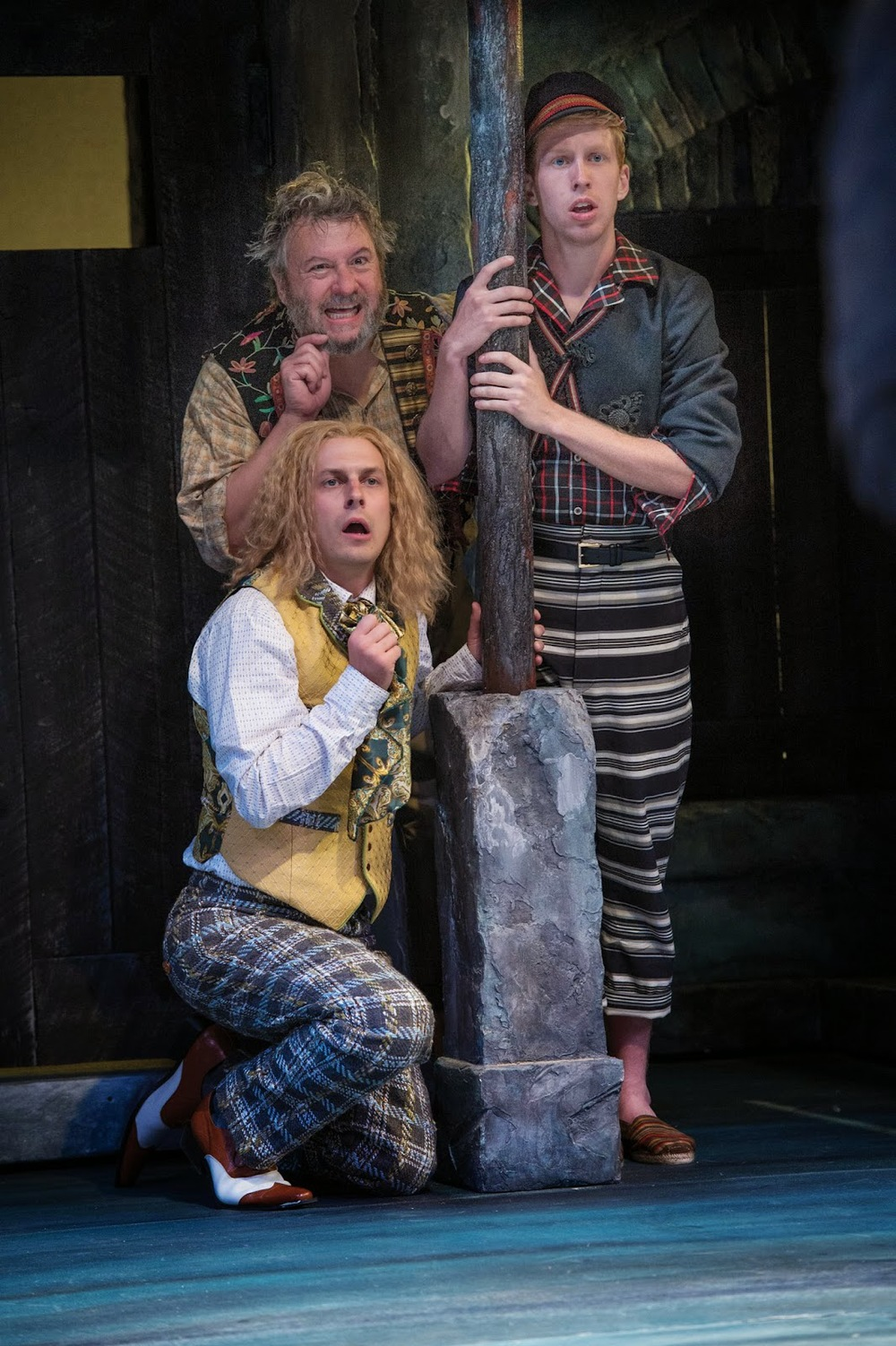 Quinn Mattfeld, Roderick Peeples and Eric Weiman in Twelfth Night. Photo by Karl Hugh.