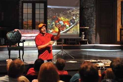 Ben Hohman, Festival props director, conducts a props seminar.