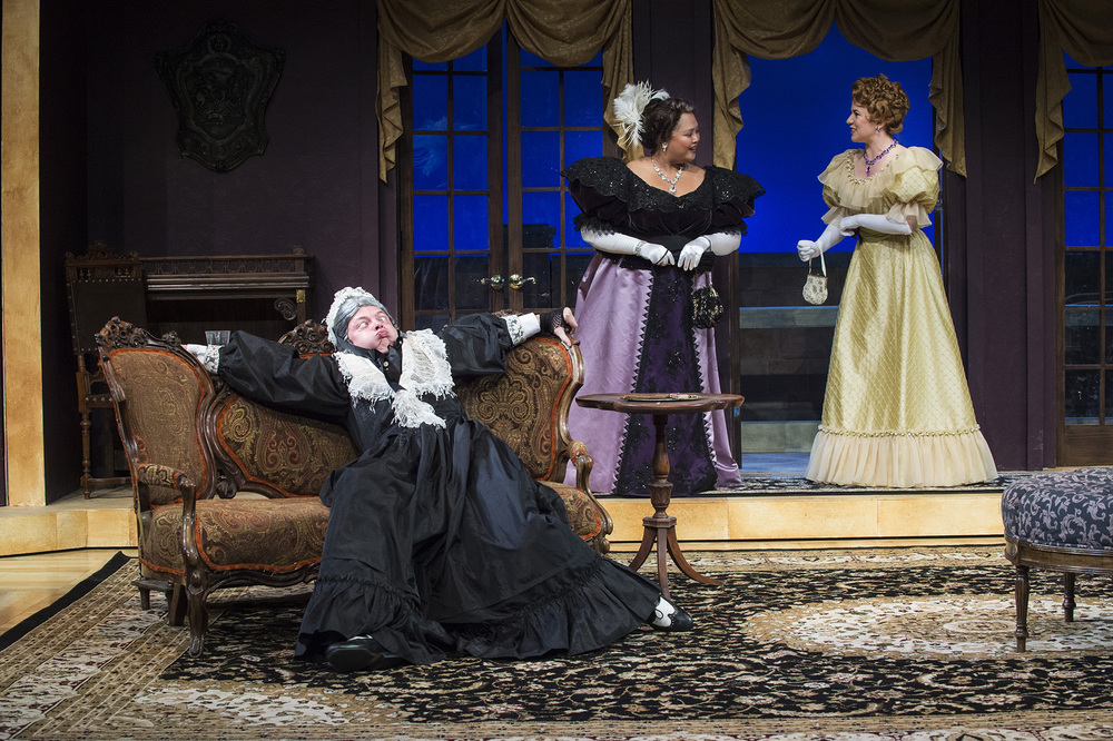 Michael Doherty (Lord Fancourt Babberley), Christine Jugueta (Donna Lucia d' Alvadorez) and Allie Babich (Ela Delahay).
