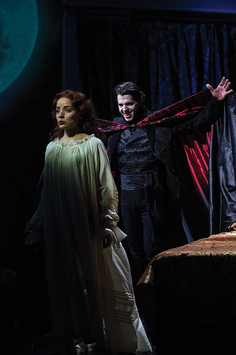Jamie Ann Romero (left) as Lucy and Tyler Pierce as Dracula