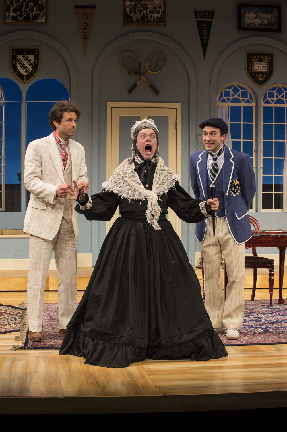 Brendan Marshall Rashid (left) as Jack Chesney, Michael Doherty as Lord Fancourt Babberley, and Tasso Feldman as Charley Wykeham