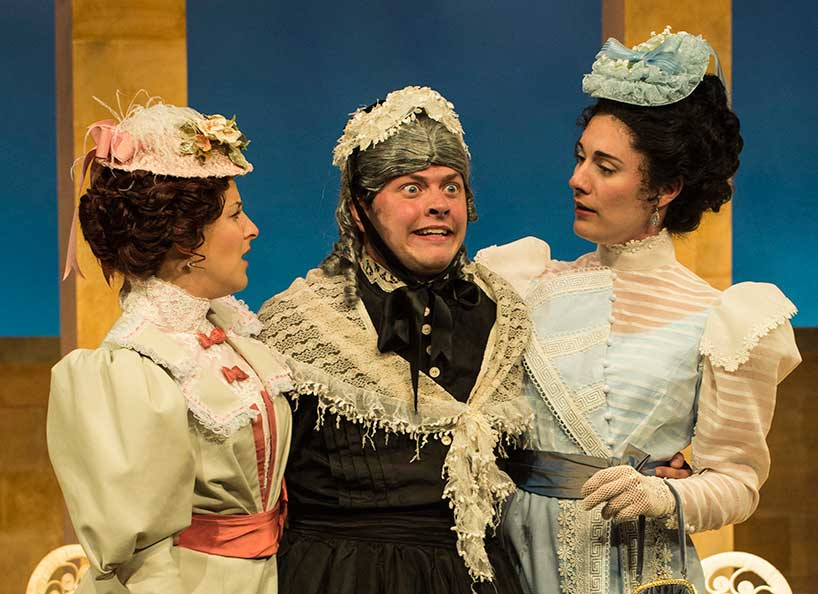 Betsy Mugavero (left) as Kitty Verdun, Michael Doherty as Lord Rancourt Babberley, and Kelly Rogers as Amy Spettigue in Charley's Aunt, 2015. Photo by Karl Hugh.