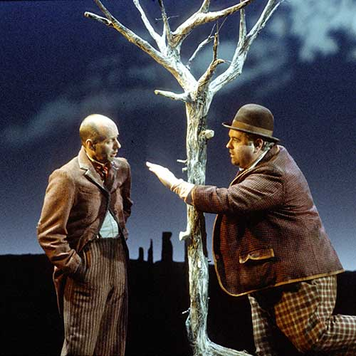 Lawrence Lott (left) as Vladimir (Didi) and John Tillotson as Estragon (Gogo) in Waiting for Godot, 1990.