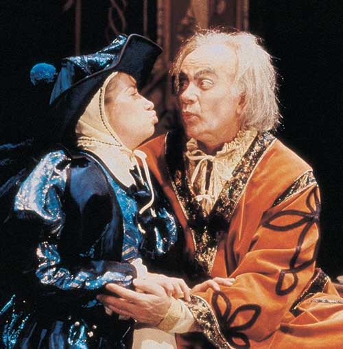 Jeanine M. Homer (left) as Gobbo and Richard Kinter as Volpone in  Volpone,  1992.