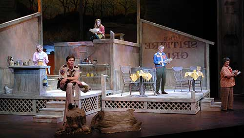 Afton Quast (left) as Shelby Thorpe, Danforth Comins as Sheriff Joe Sutter, Misty Cotton as Percy Talbott, Pat Sibley as Hannah Ferguson, and Paris Bradstreet as Effy Krayneck in The Spitfire Grill, 2004.