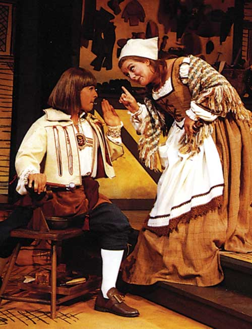 Brian Kurlander (left) as Roland Lasey and Laurie Birmingham as Margery in  The Shoemaker's Holiday,  1994.