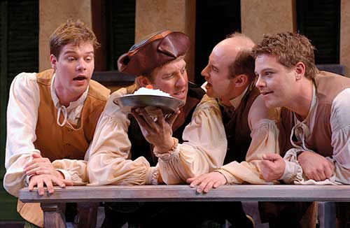R. Brian Normoyle (left) as Pinocchio, David Ivers as Truffaldino, Mick Hilgers as Guiseppe, and Martiin Swoverland as Giacomo in  Servant of Two Masters,  2003.