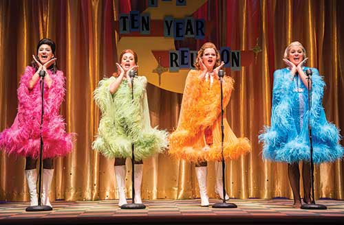Barbara Jo Bednarczuk (left) as Cindy Lou; Natalie Storrs as Betty Jean, Victoria Cook as Missy, and Cate Cozzens as Suzy in The Marvelous Wonderettes, 2013.
