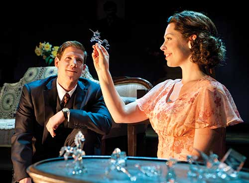 Jeb Burris (left) as Jim O'Connor and Sara J. Griffin as Laura Wingfield in The Glass Menagerie, 2011.