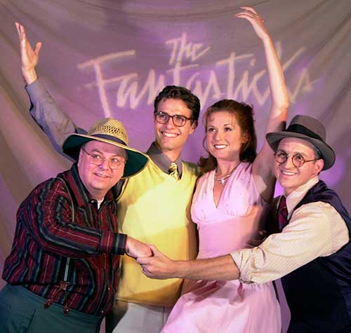 Dan Foss (left) as Hucklebee, Thomas Scott Parker as Matt, Kristin Carbone as Luisa, and Michael P. Morgan as Bellomy in  The Fantasticks,  2001.