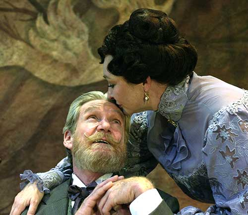 Dennis Robertson (left) as Leonid Gaev and Michelle Farr as Lyuba Ranevskaya in The Cherry Orchid, 2000.