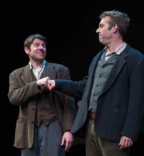 "Brian Vaughn (left) as ""Jock Campbell"" and David Ivers as Jake in Stones in His Pockets, 2012."