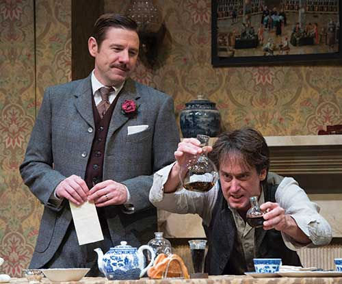 Brian Vaughn (left) as Doctor Watson and J. Todd Adams as Sherlock Holmes in  Sherlock Holmes: The Final Adventure,  2014.