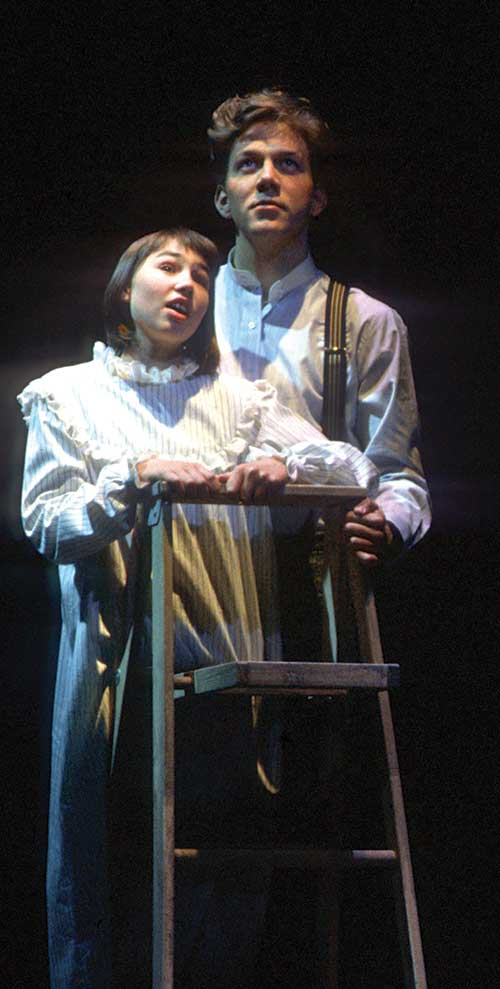 Christine Williams (left) as Emily Webb and Ashley Smith as George Gibbs in Our Town, 1993.