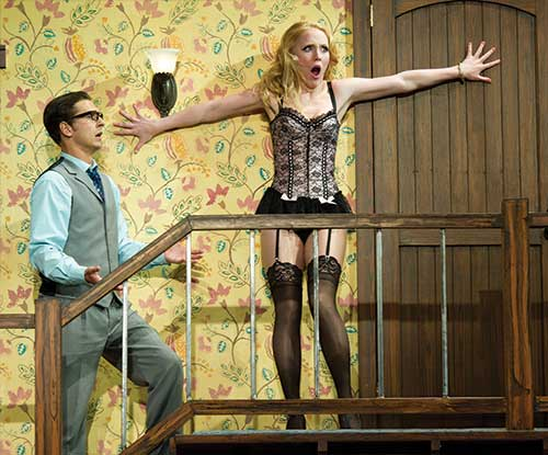 Quinn Mattfeld (left) as Garry Lejeune and Ally Carey as Brooke Ashton in  Noises Off!,  2011.